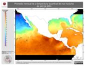 Promedio mensual de la Temperatura Superficial del Mar Nocturna de abril de 2004