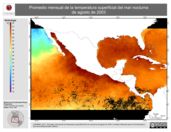 Promedio mensual de la Temperatura Superficial del Mar Nocturna de agosto de 2003