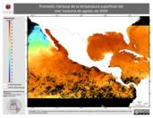 Promedio mensual de la Temperatura Superficial del Mar Nocturna de agosto de 2009
