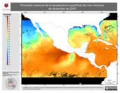Promedio mensual de la Temperatura Superficial del Mar Nocturna de diciembre de 2003