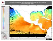 Promedio mensual de la Temperatura Superficial del Mar Nocturna de diciembre de 2008