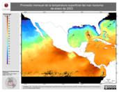 Promedio mensual de la Temperatura Superficial del Mar Nocturna de enero de 2003