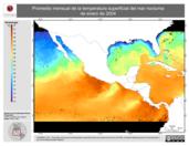 Promedio mensual de la Temperatura Superficial del Mar Nocturna de enero de 2004
