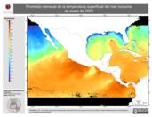 Promedio mensual de la Temperatura Superficial del Mar Nocturna de enero de 2005