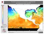 Promedio mensual de la Temperatura Superficial del Mar Nocturna de enero de 2010