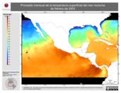 Promedio mensual de la Temperatura Superficial del Mar Nocturna de febrero de 2003