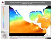 Promedio mensual de la Temperatura Superficial del Mar Nocturna de febrero de 2004