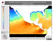 Promedio mensual de la Temperatura Superficial del Mar Nocturna de febrero de 2005
