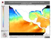 Promedio mensual de la Temperatura Superficial del Mar Nocturna de febrero de 2006