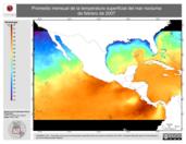 Promedio mensual de la Temperatura Superficial del Mar Nocturna de febrero de 2007