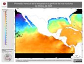 Promedio mensual de la Temperatura Superficial del Mar Nocturna de febrero de 2008
