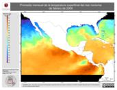 Promedio mensual de la Temperatura Superficial del Mar Nocturna de febrero de 2009