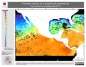 Promedio mensual de la Temperatura Superficial del Mar Nocturna de febrero de 2010