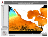 Promedio mensual de la Temperatura Superficial del Mar Nocturna de julio de 2009