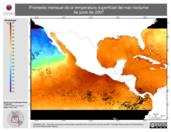 Promedio mensual de la Temperatura Superficial del Mar Nocturna de junio de 2007