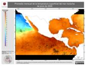 Promedio mensual de la Temperatura Superficial del Mar Nocturna de junio de 2009
