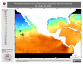 Promedio mensual de la Temperatura Superficial del Mar Nocturna de marzo de 2003