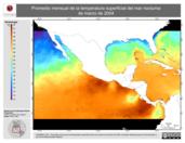 Promedio mensual de la Temperatura Superficial del Mar Nocturna de marzo de 2004