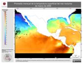 Promedio mensual de la Temperatura Superficial del Mar Nocturna de marzo de 2006