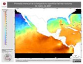 Promedio mensual de la Temperatura Superficial del Mar Nocturna de marzo de 2007