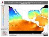 Promedio mensual de la Temperatura Superficial del Mar Nocturna de marzo de 2008