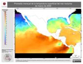 Promedio mensual de la Temperatura Superficial del Mar Nocturna de marzo de 2009