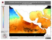 Promedio mensual de la Temperatura Superficial del Mar Nocturna de mayo de 2004
