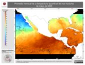 Promedio mensual de la Temperatura Superficial del Mar Nocturna de mayo de 2005