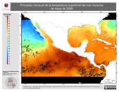 Promedio mensual de la Temperatura Superficial del Mar Nocturna de mayo de 2006