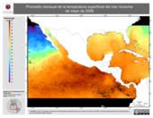 Promedio mensual de la Temperatura Superficial del Mar Nocturna de mayo de 2009