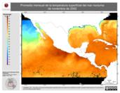 Promedio mensual de la Temperatura Superficial del Mar Nocturna de noviembre de 2002