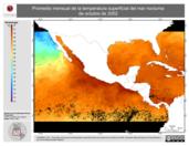 Promedio mensual de la Temperatura Superficial del Mar Nocturna de octubre de 2002