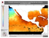 Promedio mensual de la Temperatura Superficial del Mar Nocturna de octubre de 2003