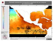 Promedio mensual de la Temperatura Superficial del Mar Nocturna de octubre de 2004