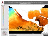 Promedio mensual de la Temperatura Superficial del Mar Nocturna de octubre de 2008
