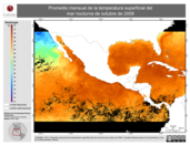 Promedio mensual de la Temperatura Superficial del Mar Nocturna de octubre de 2009