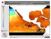 Promedio mensual de la Temperatura Superficial del Mar Nocturna de septiembre de 2002