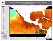 Promedio mensual de la Temperatura Superficial del Mar Nocturna de septiembre de 2003