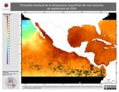 Promedio mensual de la Temperatura Superficial del Mar Nocturna de septiembre de 2004