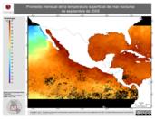 Promedio mensual de la Temperatura Superficial del Mar Nocturna de septiembre de 2005