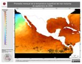 Promedio mensual de la Temperatura Superficial del Mar Nocturna de septiembre de 2006