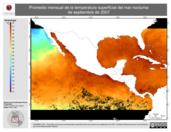 Promedio mensual de la Temperatura Superficial del Mar Nocturna de septiembre de 2007