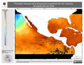 Promedio mensual de la Temperatura Superficial del Mar Nocturna de septiembre de 2008