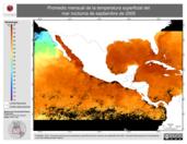 Promedio mensual de la Temperatura Superficial del Mar Nocturna de septiembre de 2009