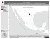 Mapa ilustrativo de Acris crepitans (Rana grillo norteño). Área de distribución potencial. La proyección citada, es exclusiva para el diseño de esta imagen.