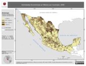 Mapa ilustrativo de Actividades económicas en México por municipio, 2000. La proyección citada, es exclusiva para el diseño de esta imagen.