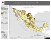 Mapa ilustrativo de Actividades económicas en México por municipio, 1990. La proyección citada, es exclusiva para el diseño de esta imagen.