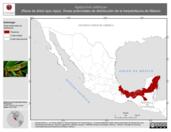 Mapa ilustrativo de Agalychnis callidryas (Rana de árbol ojos rojos). Área de distribución potencial. La proyección citada, es exclusiva para el diseño de esta imagen.