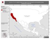Mapa ilustrativo de Agelaius tricolor (tordo tricolor) en época de invernación del Hemisferio Norte. Distribución potencial.