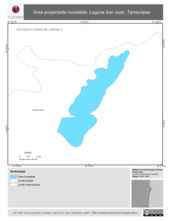Mapa ilustrativo de Área proyectada inundable. Laguna San Juan, Tamaulipas.
